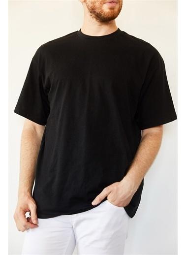 XHAN Siyah Basic Bol Kesim Oversize T-Shirt 0Yxe1-44124-02 Siyah